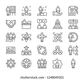 Set of human resources and teamwork line icons. Employee, freelancer, recruitment and hiring, friendship, recruiting agency, time management, conference, negotiations, handshake, feedback and more.