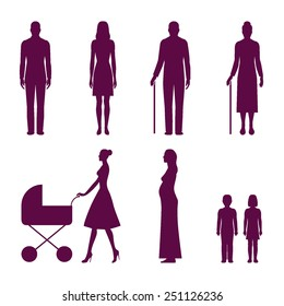Set of human silhouettes: young man, young woman, old man, old woman, mom walking with baby carriage, pregnant woman, boy, girl. Vector illustration infographic elements isolated on white background