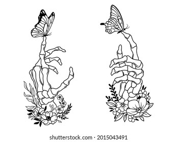 Set of human skeleton hand with flowers. Collection of finger bones with butterfly. Linear art. T-shirt design. Vector illustration of human limbs on a white background.