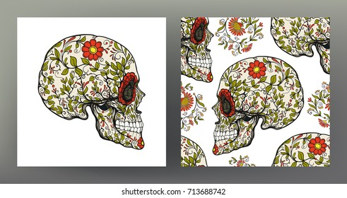 Set of human skull and seamless pattern, background with sugar