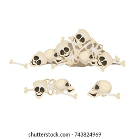 Set of human skulls and bones lying in a heap isolated on white background. Terrible attributes of the celebration of holiday of all evil Halloween. Vector cartoon close-up illustration.