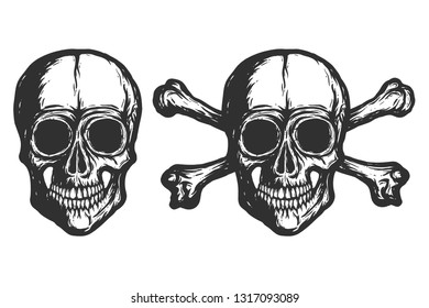 Set of Human skulls with bones vector silhouettes isolated on white background. Hand drawn black and white illustration. Tattoo skulls or print design.