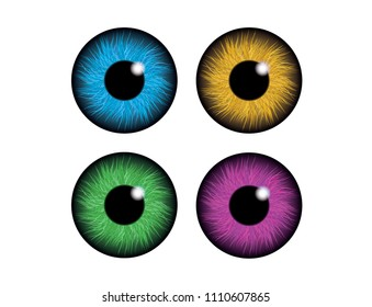 Set of humans and abstract eyes. Blue, brown, green and violet eye. Isolated on the white background. Vector design eps10.
