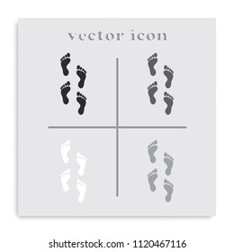 Set of humen foot prints flat black and white vector icon.