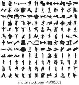 Set of Hundred Fitness Silhouettes