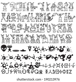 Set of Hundred Vector Aliens Silhouettes and Types