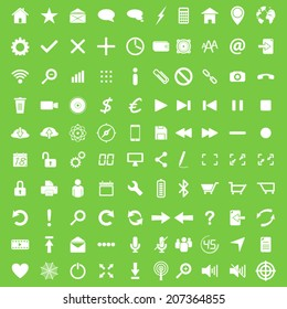 Set of hundred white flat web navigation and mobile icons
