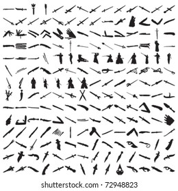 Set of Hundreds Knifes and Swords Silhouettes