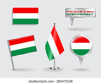 Set of Hungarian pin, icon and map pointer flags. Vector illustration.
