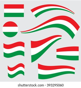 Set of Hungary flags in different forms and shapes