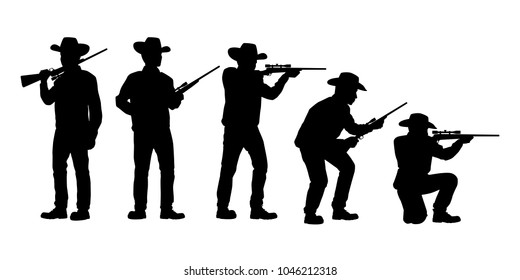 Set of hunter with rifle gun silhouette vector