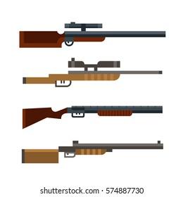 Set of hunters shotguns isolated on white background. Vector illustration art.