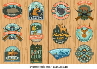 Set of Hunting club patch. Vector Concept for shirt, label, print, stamp, patch. Vintage typography design with hunting gun, boar, hunter, bear, deer, duck and forest. Outdoor hunt club emblem