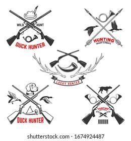 Set of hunting emblem templates. Hunting rifles, dog,duck and deer. Design element for logo, label, sign, poster, t shirt. Vector illustration
