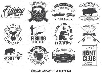 Set of hunting and fishing club badges. Vector illustration Concept for shirt, print, stamp, tee. Vintage typography design with hunting guns and fishing rods silhouette. Outdoor adventure club emblem