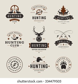 Set of Hunting and Fishing Labels, Badges, Logos Vector Design Elements Vintage Style. Deer head, hunter weapons, forest wild animals and other objects. Advertising Hunter Equipment.