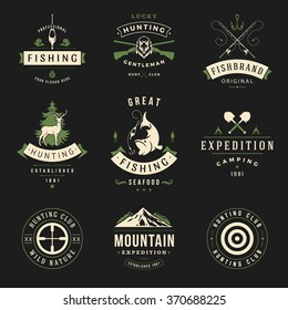 Set of Hunting and Fishing Labels, Badges, Logos Vector Design Elements Vintage Style. Deer Head, Hunter Weapons. Advertising Hunter Equipment. Fishing Logo, Deer Logo, Rifle Logo, Mountain Logo.