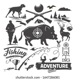 Set of hunting and fishing objects. Vector Vintage Style Design Elements. Deer, wild forest boar, dog, hunting weapon, fishing rod, ducks and other isolated objects on white