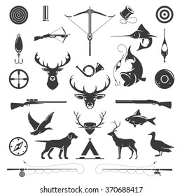 Set of Hunting and Fishing Objects Vector Design Elements Vintage Style. Deer head, hunter weapons, forest wild animals isolated on white. Deer Silhouette, Fish Silhouette, Riffle Silhouette.