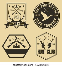Set of Hunting Objects Vector Design.
