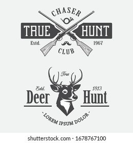 Set of Hunting and Objects Vector Design Elements Vintage Style.