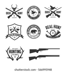 Set of hunting related labels badges emblems. Design elements collection for logos, posters, prints. Vector vintage illustration.
