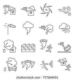 Set of hurricane Related Vector Line Icons. Includes such Icons as natural disaster, wind, destruction, cyclone, bad weather and etc.