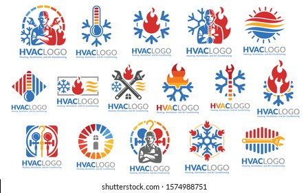 A set of HVAC logo design, heating ventilation and air conditioning, HVAC logo pack template collection.