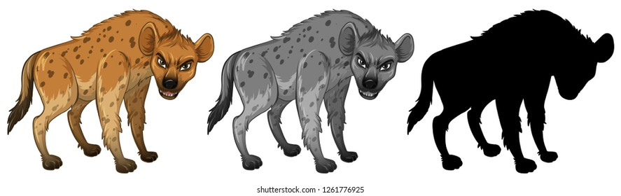 Set of hyena character illustration