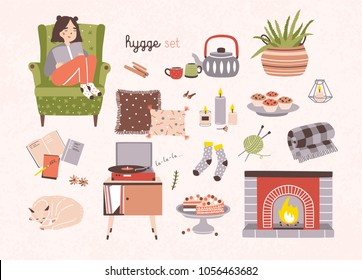 Set of hygge attributes, furniture and home decorations isolated on light background - fireplace, pillows, turntable with playing vinyl record, girl sitting in cozy armchair. Vector illustration.