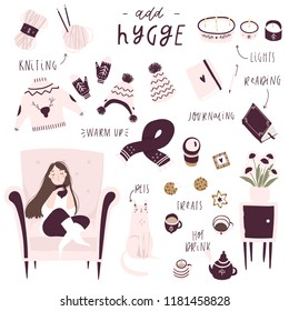 Set of hygge attributes, furniture and home decorations isolated on white background. Girl sitting in cozy armchair. Vector illustration. Pink purple white