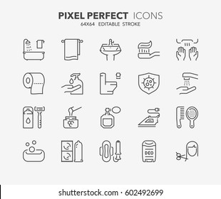 Set of hygiene and cleaning thin line icons. Contains icons as health care, antibacterial cleaning, corporal hygiene, dental hygiene and more. Editable vector stroke. 64x64 Pixel Perfect.