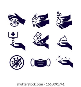 Set of Hygiene icons. The icons as hand wash, soap, alcohol, detergent, anti bacteria and mask. Vector illustrations.