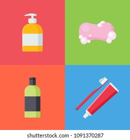 Set of hygiene items in flat style isolated on colorful background. Collection of Soap, liquid soap, Toothbrush with toothpaste and Shampoo vector illustration. Care and clean, bathroom objects.