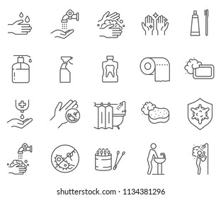 Set of hygiene Related Vector Line Icons. Contains such Icons as soap, hand wash, germs, sterility and more.