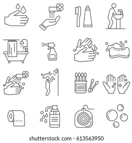 Set of hygiene Related Vector Line Icons. Includes such Icons as washing hands, soap, cleanliness, bath, shower, cotton swabs, toilet paper, shampoo, toothpaste, dental floss