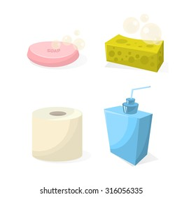 Set for hygiene, soap, cleansers, toilet paper, white background
