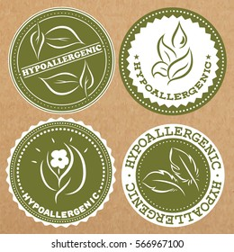 Set of hypoallergenic badges, icons, sticker layouts