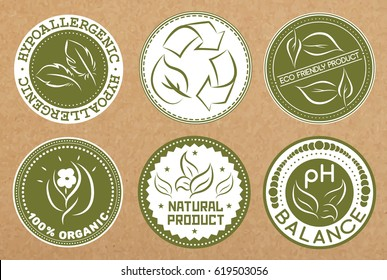 Set of hypoallergenic, recyclable, eco friendly, organic badges, icons, sticker layouts