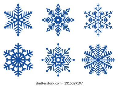 Set of ice blue Frosty snowflakes on an isolated white background.