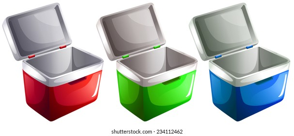 Set of ice buckets on a white background