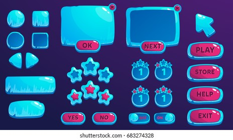A set of ice buttons and an interface for the design of games and applications. Elements of games.