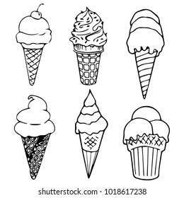 Set Ice cream cone variety,Vector Illustration