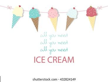 Set of ice cream cones. Design card. Vector illustrations