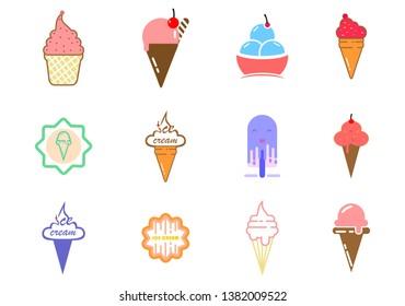 Set of ice cream, dessert logo vector