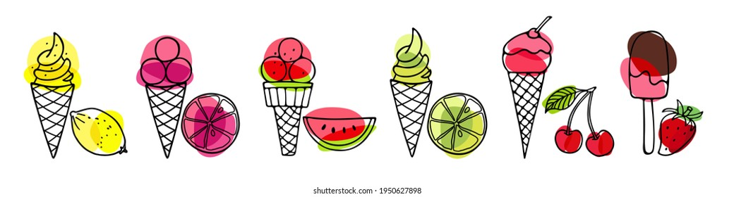 Set of Ice Cream. Different ice screm types. Hand drawn sketch with fruits and berries. Delicious frozen dessert. Bright summertime sweet food. Vector doodle for cafe restaurant menu, tshirt, wallart