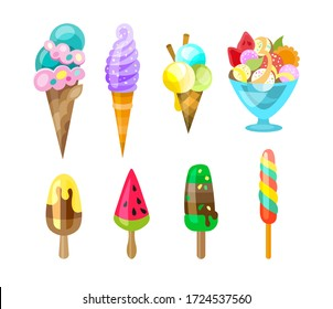 Set of ice cream icons in flat style. Ice cream on a stick, in waffle cup.