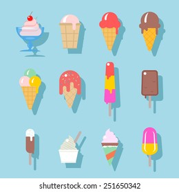 Set of ice cream icons in flat style. Ice cream on a stick, in waffle cup. Vector illustration