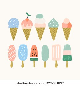 Set of ice cream icons. Summer illustration.