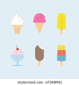 Set of ice cream icons. Vector ice cones, popsicles and ice cream balls in cups. Modern flat vector design.